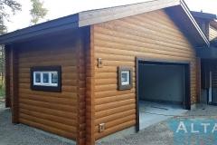 Log Wood Exterior Garage Adition Front